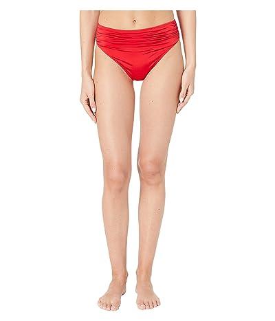 Stella McCartney Ballet Draped High-Waist Bikini Bottoms (Red/Fuxia) Women