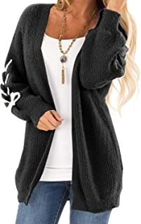 ZKESS Womens Casual Oversized Long Sleeve Open Front Cable Knitted Cardigan Sweater with Pocket S-XXL