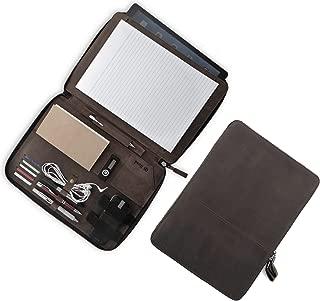 皮革包包 – 拉链专业商务文件整理包 – 包包包 – 适合 13 英寸平板电脑 – 左右手文件夹男女通用 – Qi Road 14 英寸 x 10 英寸 深棕色