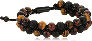 Mens Tigers Eye and Beaded Double Strand Adjustable Bracelet