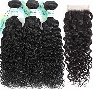 Bfary Hair Peruvian Water Wave 3 Bundles with Closure(18 20 22+16), 10A Unprocessed Virgin Human Hair Weave with Free part Lace Closure, Cheap Hair Extension Wet and Wavy Curly Hair Natural Color