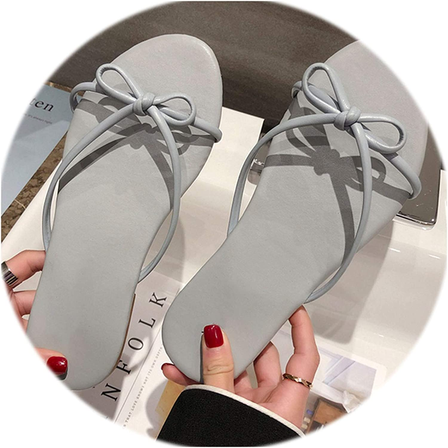 Rather be 2019 New Women Slippers Bow-Knot Summer Beach Flip Flop Flat Ladies Casual Sandals Outdoor Sweet Slippers Slides