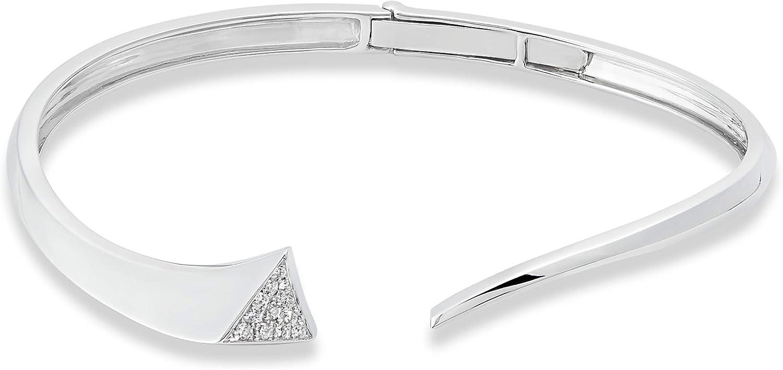 Sterling Silver Diamond Sale Fashion Cuff 1 cttw Bangle Bracelet Year-end gift 6