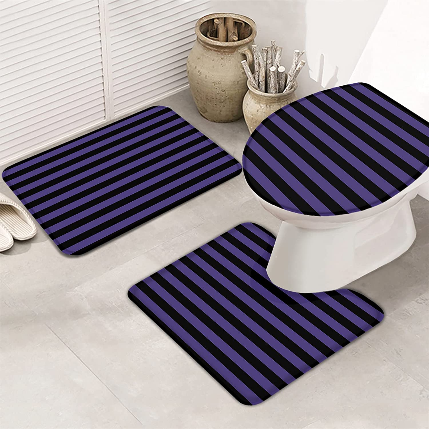 OneHoney Bathroom Rugs Set Halloween Purple Black Non-Sl 2021 spring Product and summer new Stripes