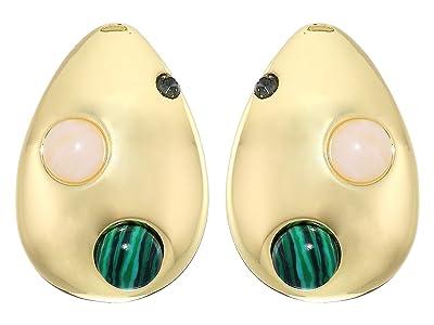 Rebecca Minkoff Chubby Multi Stone Large Studs Earrings (Gold) Earring