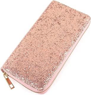 RIAH FASHION Rainbow Glitter Zip Around Wallet - Sparkly Confetti Single Zipper Clutch Purse with Card Slots