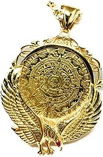 """Gold Plated Aztec Calendar Coin Centenario Mexicano Eagle Pendant Chain Oro Cadena 26"""""""