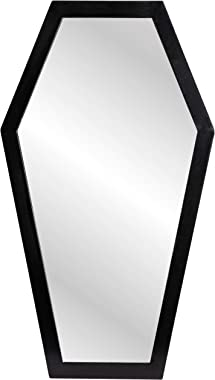 Gothic Curiosities Large Coffin Mirror - 23 Inch Gothic Decor for Bedroom Or Bathroom - Hooks and Hardware Included, Ready to
