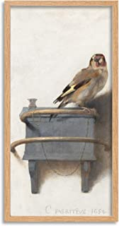 Fabritius Goldfinch Bird Painting Animal Nature Long Framed Art Print Wall Poster 25x12 inch