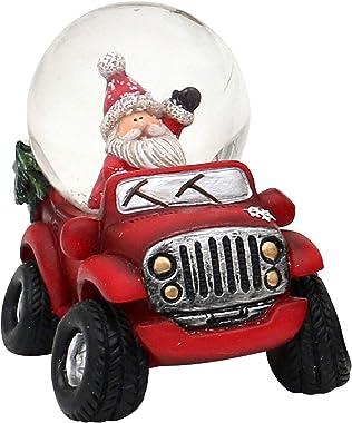 Dekohelden24 Boule à neige Cars rouge avec Père Noël - Dimensions : env. 9,8 x 7,8 cm - Diamètre : 4,5 cm.