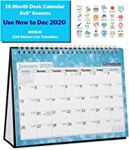 Small 8x6 Desk Calendar 2020 (Seasons), Use Now to December 2020, 16 Months, Flip Desktop Counter Top Calendar, with Stickers for Calendars, for Family Home and Office