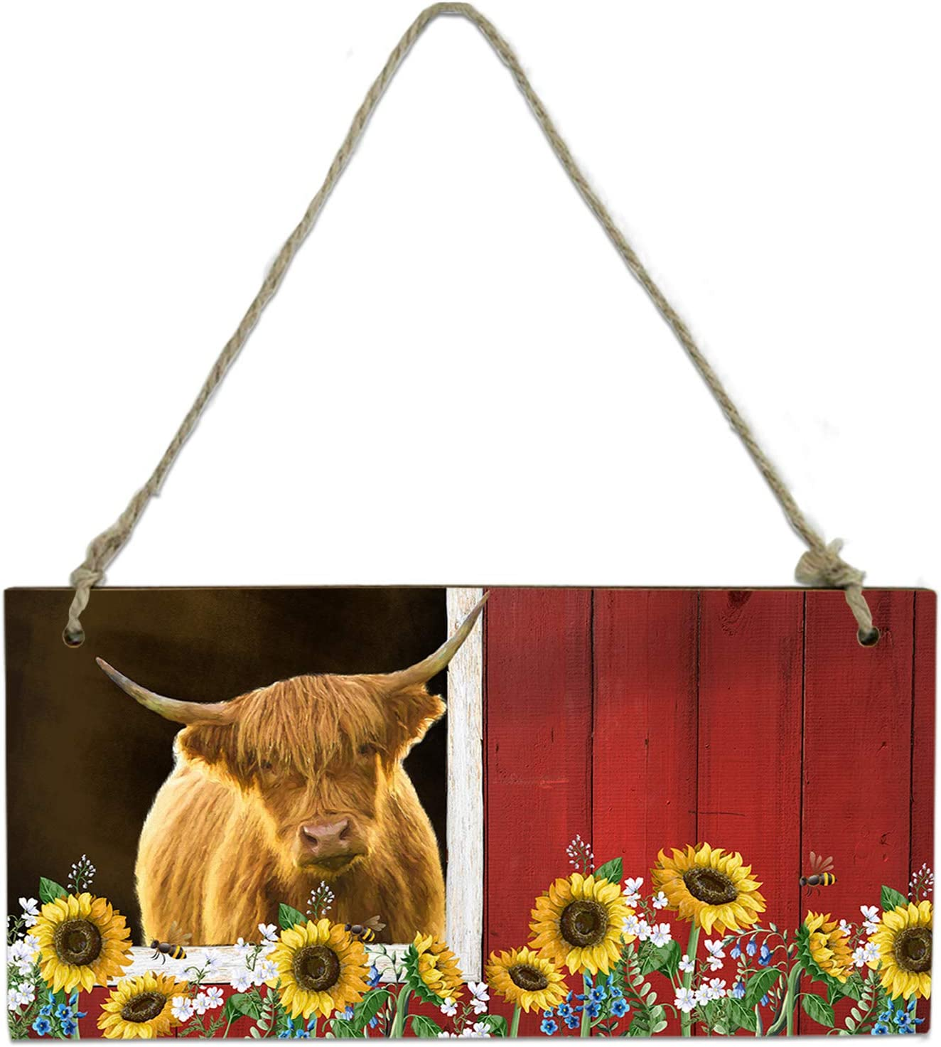Wood Plaque Wall Hanging Sign Bathroom lowest price for Nashville-Davidson Mall Highland Cow Kitchen