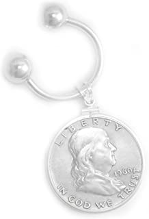 Sterling Silver Quarter Coin Edge Coin Bezel Horseshoe Key Ring Without Coin