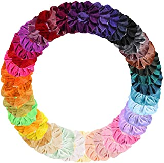 DELFINO Elastic Scrunchies Colorful Chiffon Hair Bobbles for Thick Hair, Soft Stretchy Hair Ties Ponytail Holder for Women...