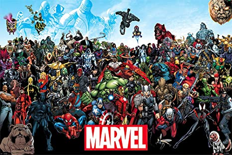 """Amazon.com: POSTER STOP ONLINE Marvel Comics Universe - Comic Poster/Print  (All Marvel Characters) (Size 36"""" x 24""""): Posters & Prints"""