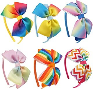 Micomon Everyday Big Jojo Bows with Unicorn and Rainbow Pattern Beautiful Grosgrain Hair Accessories Headband for Girls