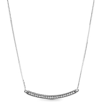 """Pandora Jewelry Hearts of Pandora Bar Cubic Zirconia Necklace in Sterling Silver, 19.7"""""""