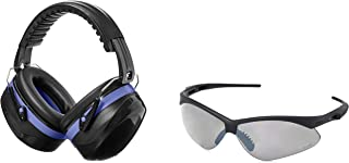 AmazonBasics Safety Ear Muffs Ear Protection, Black and Blue, and Safety Glasses, Smoke Lens