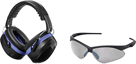 AmazonBasics Safety Ear Muffs in Black and Blue & Safety Glasses in Smoke Lens