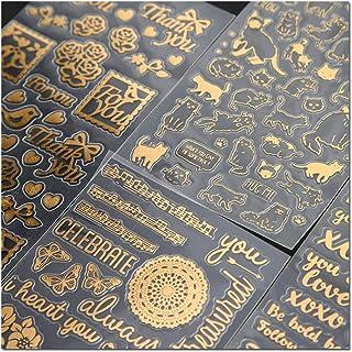 KUNER Briefpapier Aufkleber selbstklebend für Scrapbooking Tagebuch Planer Handy Album Notebook Bullet Journal Party Tasche Event Deko DIY Art Craft Kalender Sticker (Gold)