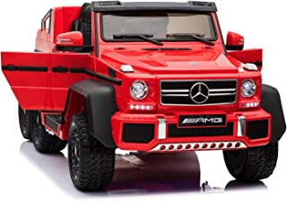 Dorsa Licensed Mercedes Benz AMG G63 6x6 Kids Ride On Car with 2.4G Remote Control, 12V 4 Motors, Stroller Function, Openable Doors, Spring Suspension, USB MP3 Player & Bluetooth Function -Red
