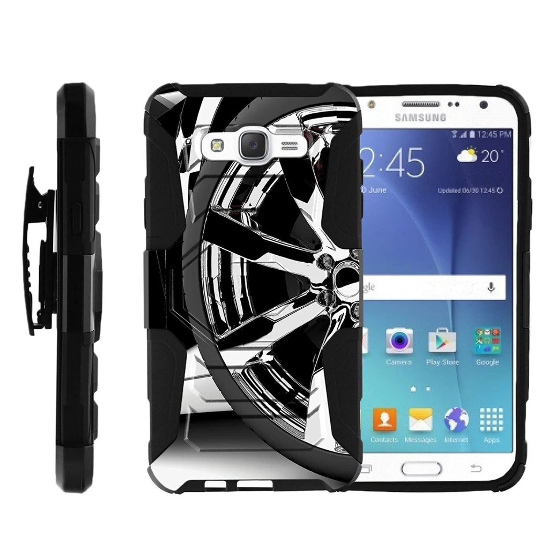 MINITURTLE Case Compatible w/Galaxy J7 Case, Samsung J7 Clip Case, J700 Cover [Armor Reloaded] Shock Rugged Clip Case w/Hard Stand Silver Rim