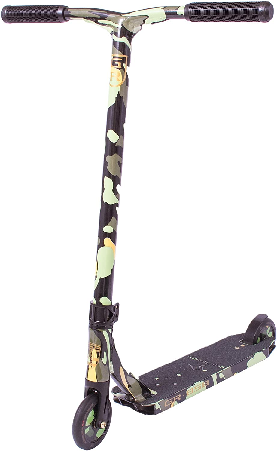 GR Scooter Designed for A Lighter Stronger Ride – Reinforced Alloy Bar, Flat Deck, 110mm Wheels, IHC Fork All Perfect for Riders Starting Out (Camo)