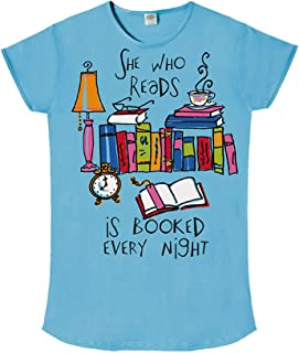 Nightshirt Says She Who Reads is Booked Every Night, Teal Blue, OSFM