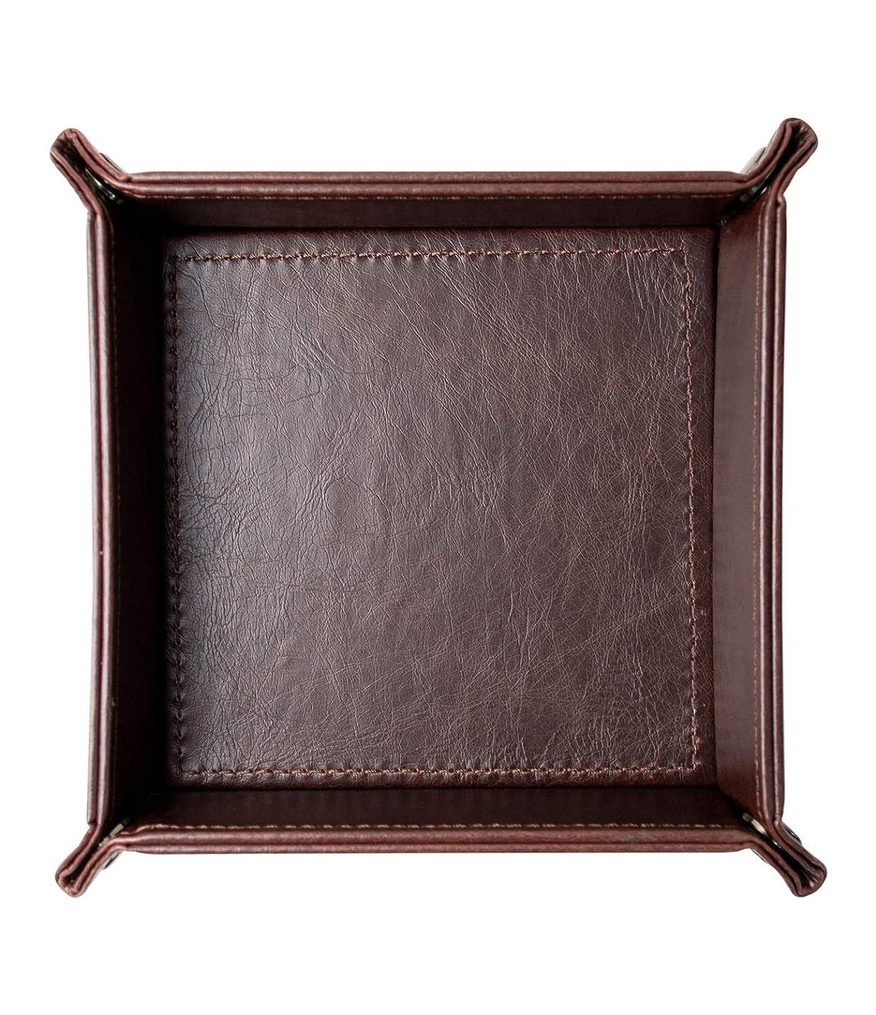 米ドル一般カーペットHIGH FIVE 正方形 レザートレー トレイ 小物入れ アクセサリー リモコン 鍵 腕時計 指輪 収納ボックス おしゃれ ダークブラウン