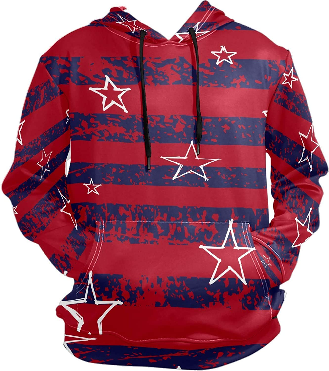 Men's Sport Hoodie White Star Blue Red Striped Big and Tall Hoodies for Men Women Oversized Hooded Sweatshirt Hip Hop Pullover Hoodie Midweight Hood for Boys Girls