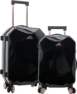 kensie Women's Only Shiny Diamond Hardside Spinner Luggage Set, Black, 2-Piece (20/28)