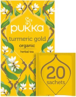 Pukka Herbs Turmeric Gold, Organic Herbal Tea with Lemon & Whole Leaf Green Tea, 20 Tea Bags(Pack of 1)