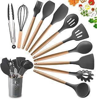 DOPGL Juego de 11 utensilios de cocina de silicona, resistentes al calor, mango de madera, sin BPA, no tóxico, espátula, espátula, cuchara, utensilios de cocina antiadherentes Gris
