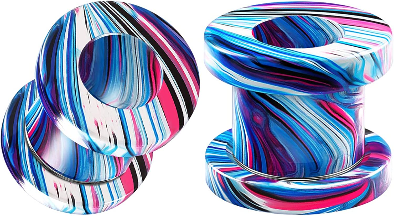 BIG GAUGES Pair of Cash special price Max 89% OFF Screw Anodized Tunnels Piercing Jewel Painted