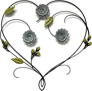 Fetco Leighton Floral Heart Metal Wall Art, Tuscan Bronze with Distressed Finish