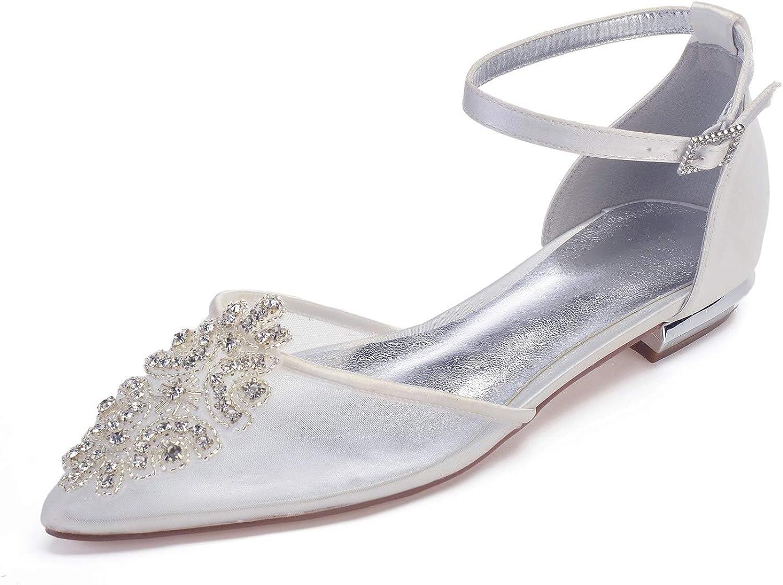 Elobaby Frauen Hochzeitsschuhe WE-084 Seide wie Satin Stiletto Elfenbein Klassische Spitze Schnalle Geschlossene Spitze