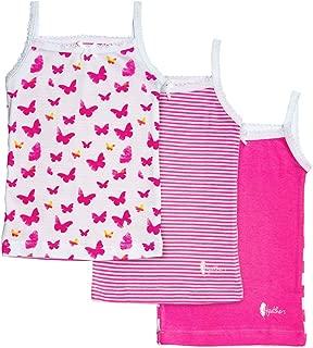 Girls Pink Butterfly Print Tagless Cami Super Soft Undershirts (3/Pack)