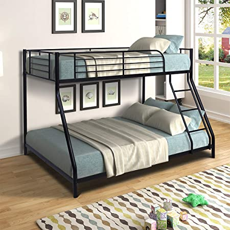 Bunk Bed Twin Over Full Sturdy Steel Metal Bed Frame with Flat Ladder and Guardrail for Children/Teens/Adults (Black)