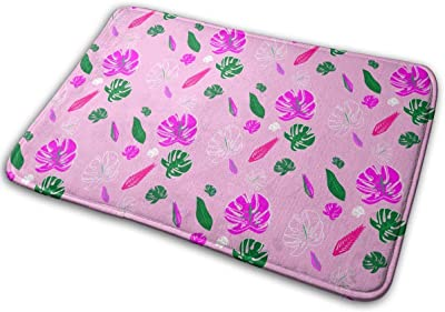 with Palm Leaves in Pink Colors Carpet Non-Slip Welcome Front Doormat Entryway Carpet Washable Outdoor Indoor Mat Room Rug 15.7 X 23.6 inch