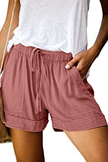 CILKOO Women's Drawstring Elastic Waist Summer Casual Beach Shorts(S-XXL)