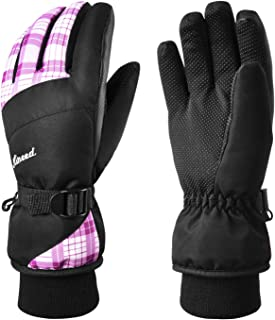 KINEED Winter Women Ski Gloves,Waterproof Windproof Snowboard Snow Riding 3M Thinsulate Warm Gloves