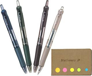 Pilot Acroball M Retractable Advanced Ink Ball Point Pens, Extra Fine Point 0.5mm, Black Ink, 4-Pack, Sticky Notes Value Set