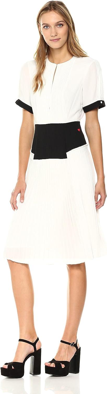 Dear Drew by Drew Barrymore Womens Elizabeth St Short Sleeve Pleated Dress Dress