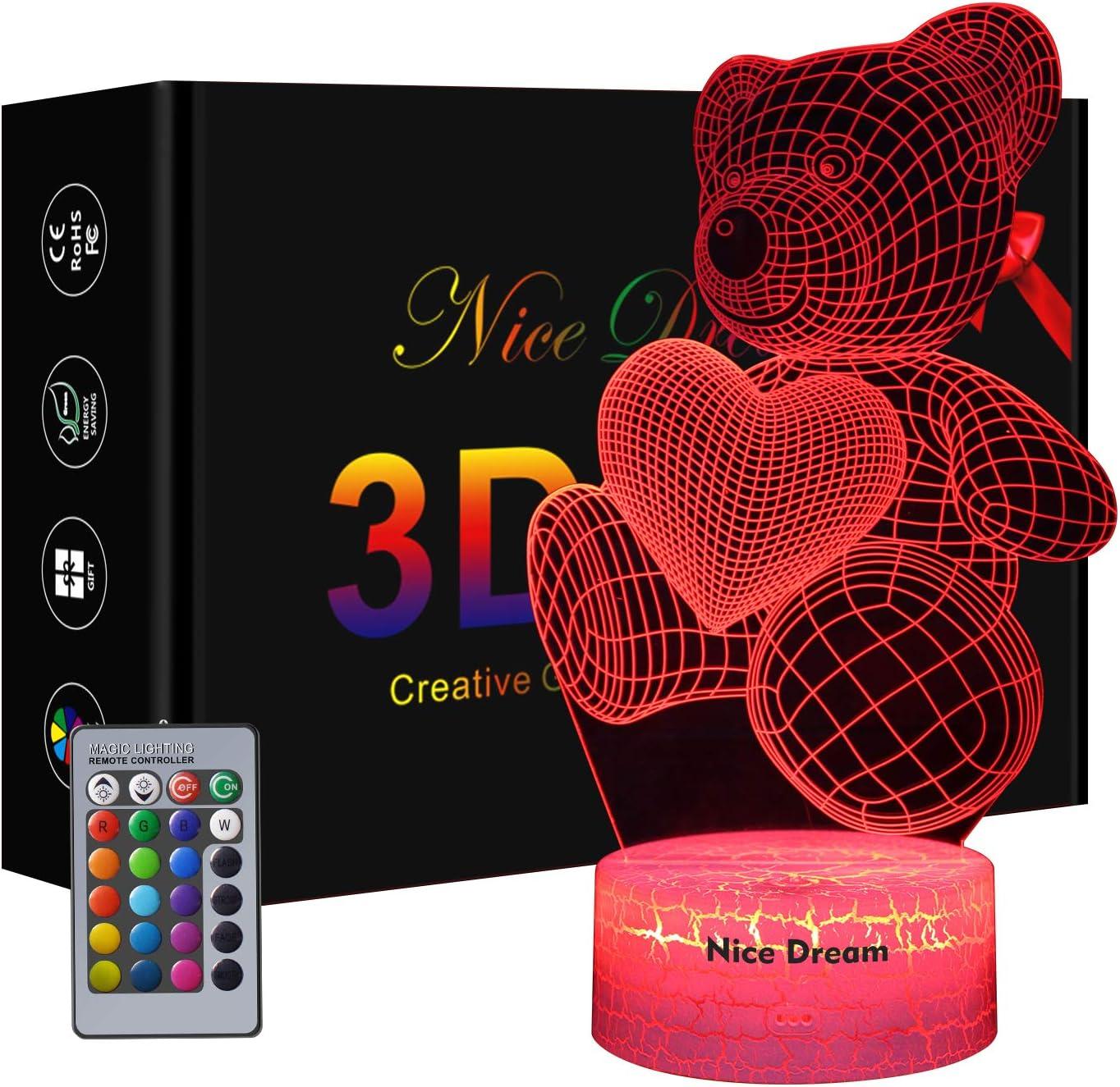 Teddy Bear Gift, Teddy Bear 3D Lámpara de ilusión óptica para niños y amantes, 16 colores que cambian de acrílico LED Night Light, cumpleaños o regalo de San Valentín