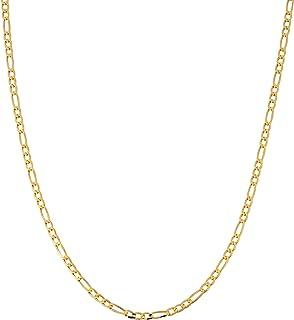 Cadena de eslabones Figaro de oro de 14 quilates, 2 mm, cadena Figaro de 14 quilates, cadena de 14 quilates para colgantes