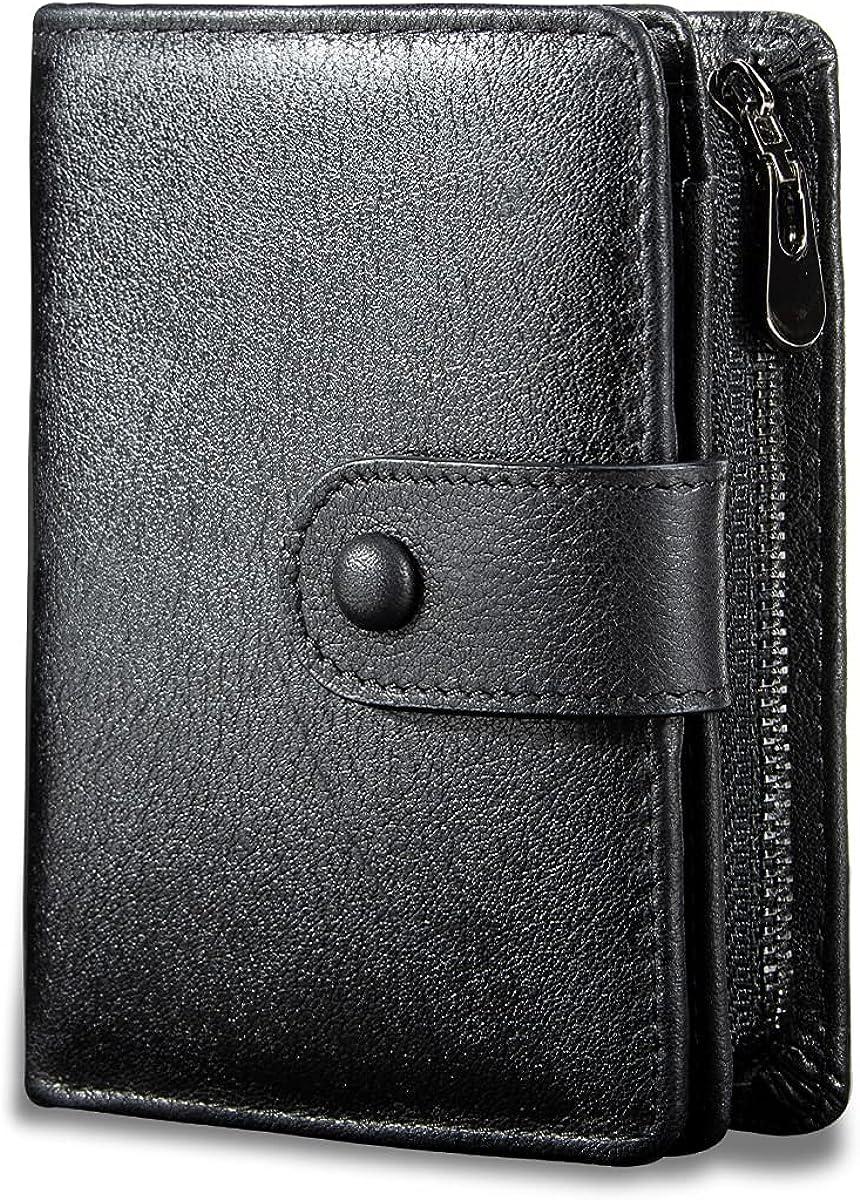 HUANLANG Bifold Mens Wallet Leather Rfid Wallets for Men with Zipper Coin Pocket Multi Card Holder Purse Vintage Men's Wallet Large Capacity