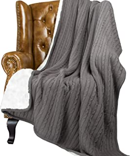 NTBAY Cable Knitted Sherpa Throw, All Seasons Collection Super Warm Reversible Fleece Blanket (60