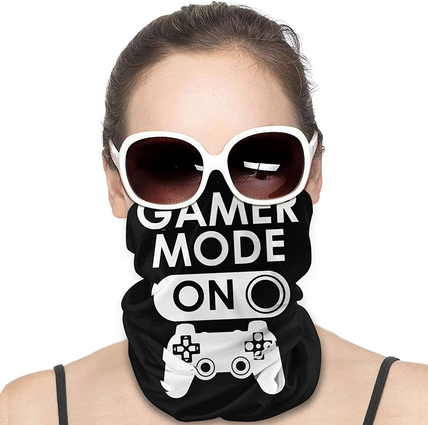Gamer Mode On Round Neck Gaiter Bandnas Face Cover Uv Protection Prevent bask in Ice Scarf Headbands Perfect for Motorcycle Cycling Running Festival Raves Outdoors