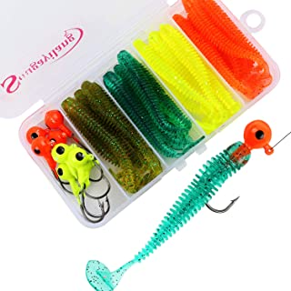 Sougayilang Fishing Sinkers Set with Brass Sinker Weights Jig Hooks Fishing Swivel Ring Connector Plastic Box for Freshwater Saltwater Bass Fishing