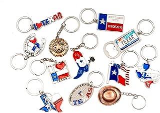 Texas Bundle Souvenir Metal Keychain 12 Pack-Texas Cowboy,Texas Lone Star on Texas State Map, Don't Mess with Texas, I Love Texas, Longhorn, Texas Seal, Texas Bottle Opener, Texas Cowboy Boot & More